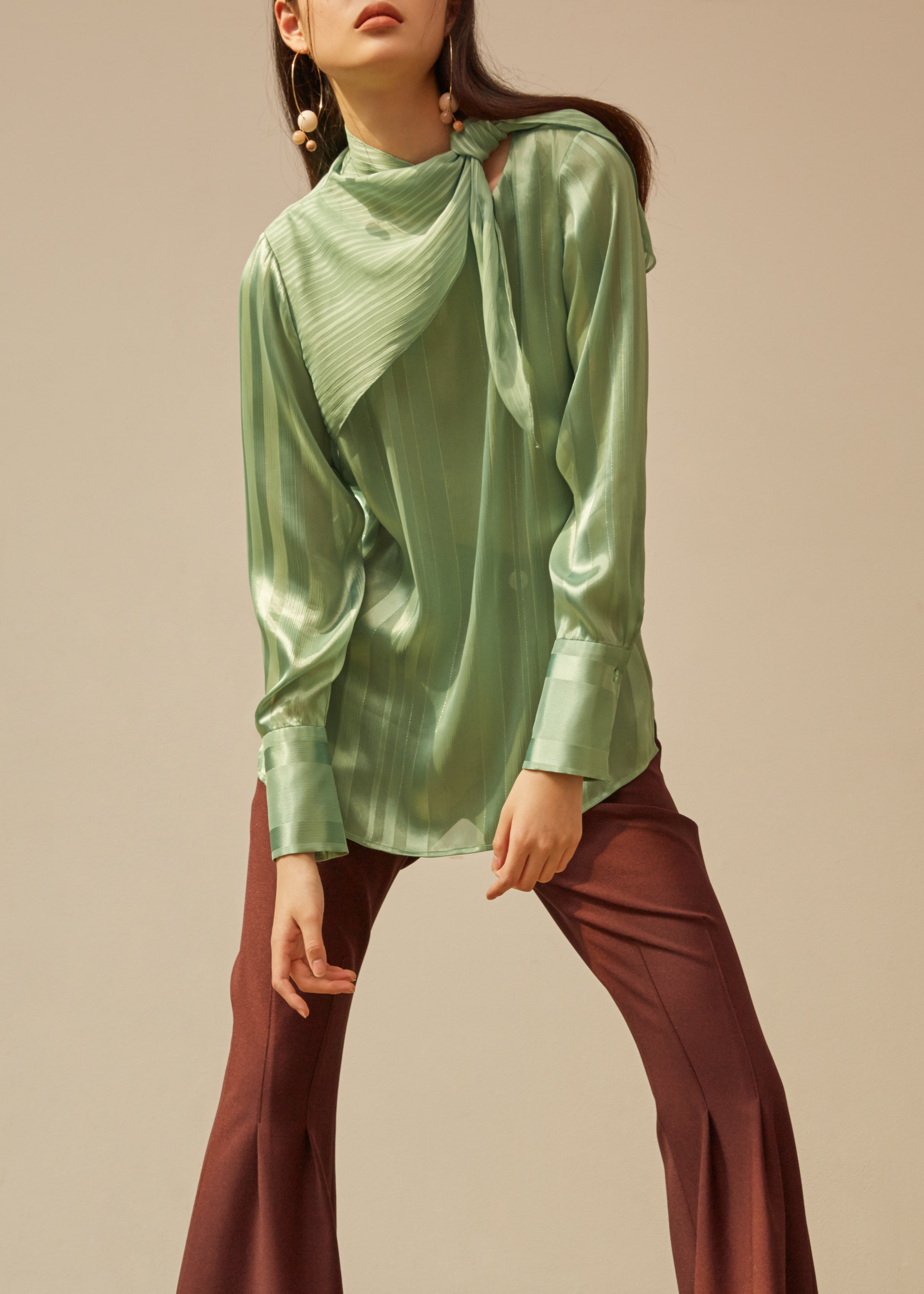 greenery scarf blouse