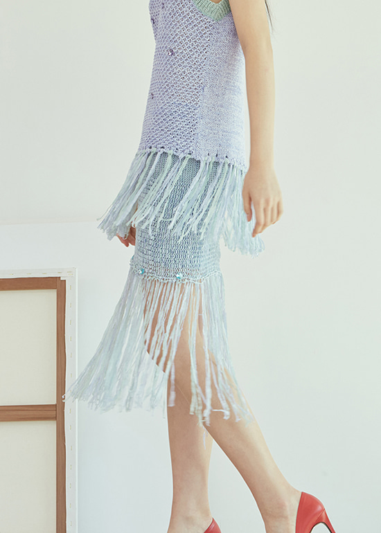 [유리착용] blue swarovski tape knit skirt