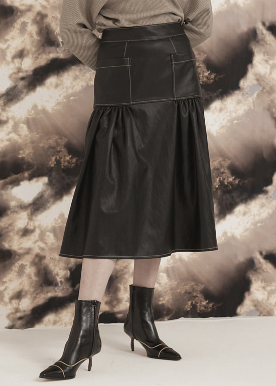 black volume stitch skirt