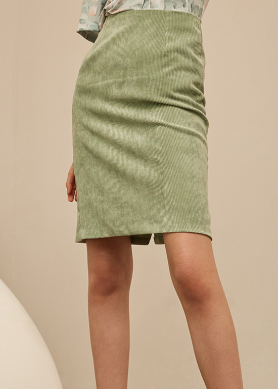 mint corduroy midi skirt