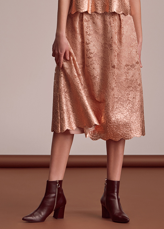 peach gold lace skirt