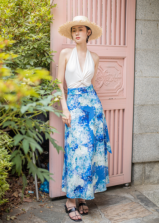 blue mosaic wrap skirt
