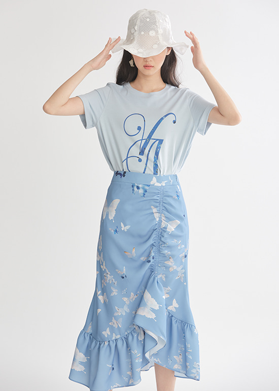 blue butterfly shirring skirt