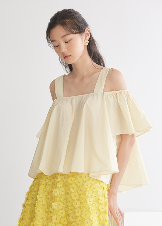 ivory volume offshoulder blouse