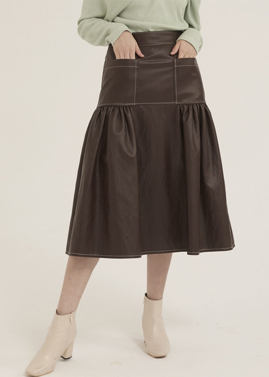 chocolate volume stitch skirt